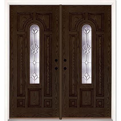 Medina Zinc Center Arch Lite Stained Walnut Oak Fiberglass Double