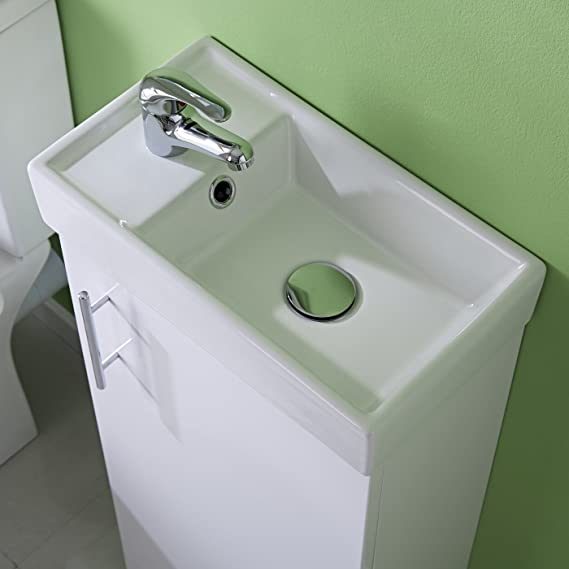 Gloss Grey 400mm Nuie COR901 Core Modern Bathroom Wall Hung Vanity Unit with 1 Soft Close Door and Ceramic Basin