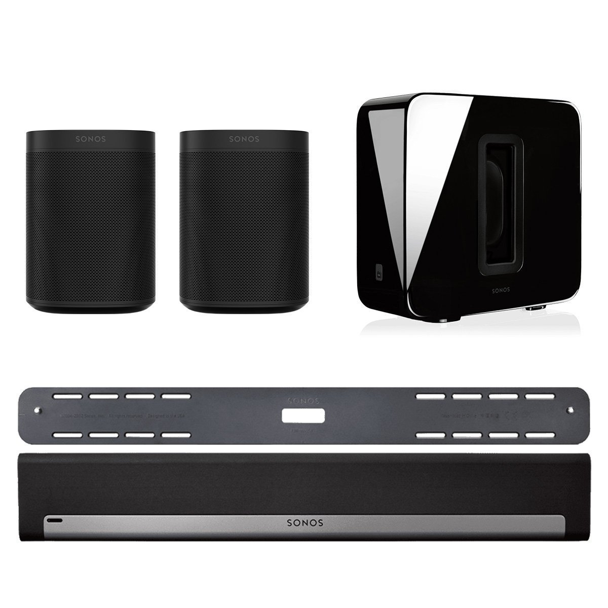 Sonos 5.1 Home Theater System with Sonos ONE (Pair), PLAYBAR with Wall Mount Kit, and SUB (Black)