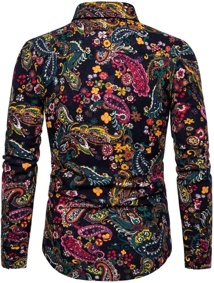 XXXXXL, C Mens Shirt Fashion Business Leisure Slim Fit Printing Long-sleeve Shirt Top Blouse