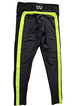 c2de85550a824e Victoria's Secret PINK Ultimate Yoga Legging Dark Gray Neon Yellow (Medium)