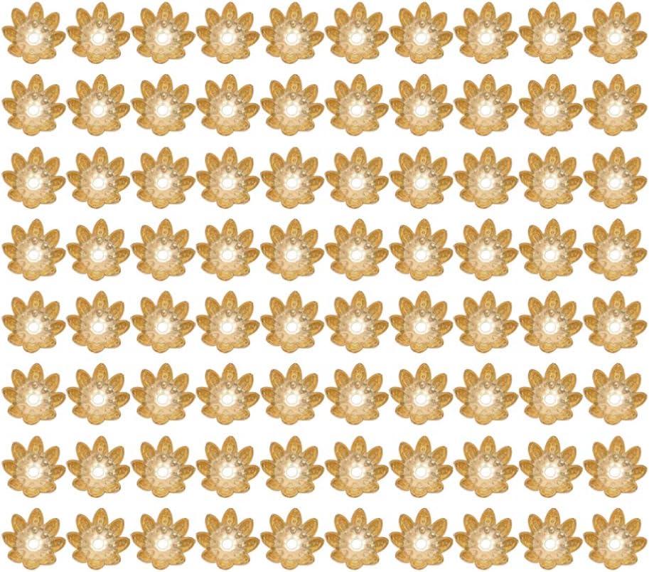 8 mm bronze SUPVOX 500pcs perles perle fleur espacement Bijoux capuchons dextr/émit/é cru pour la fabrication de bijoux collier bracelet bricolage