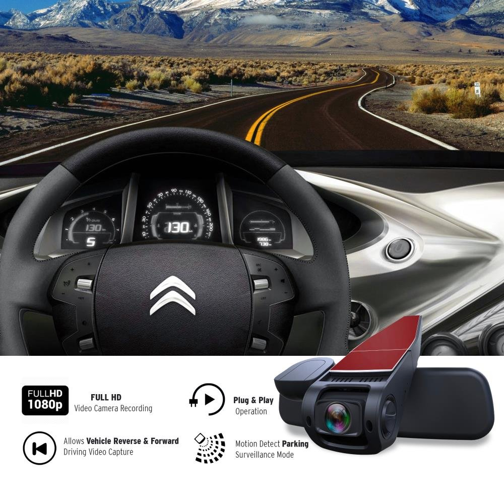 "1.5/"" Digital Screen Rear View Dual Camera Video Recording System in Full HD 1080p w//Built in G-Sensor Parking Monitor /& Loop Video Recording Support Pyle PLDVRCAM74 Sound Around Dash Cam Rearview DVR Monitor"
