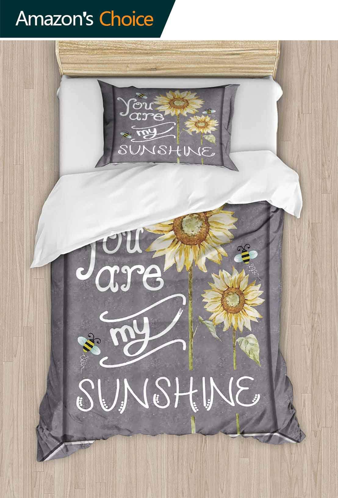 PRUNUSHOME Polyester Bedding Love Signs Decorations Collection You are My Sunshine Quote on a Black Board Ultra Soft Hypoallergenic King