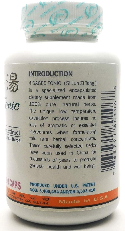 4 sages Tonic Dietary Supplement 500mg 100 Capsules (Si Jun Zi Tang) A06 100% Natural Herbs