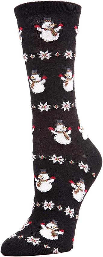MeMoi Womens Christmas Snowmen Crew Socks 1 Pair