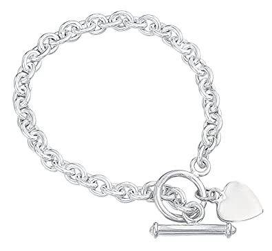 115aaef22 Elements Silver B066 Ladies' Heart Tag with T-Bar Sterling Silver Bracelet