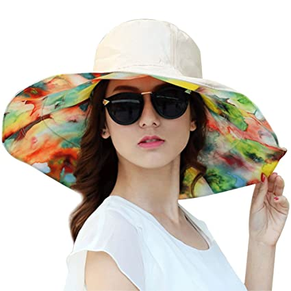 6e2fa85cd8c Amazon.com   QCHOMEE Women s Canvas Big Brim Hat Beach Cap Foldable Sun Hat  Anti-UV Sun Protective Hat Double-sided Large Brim Sun Hat Bucket Hat Sun  Hat ...