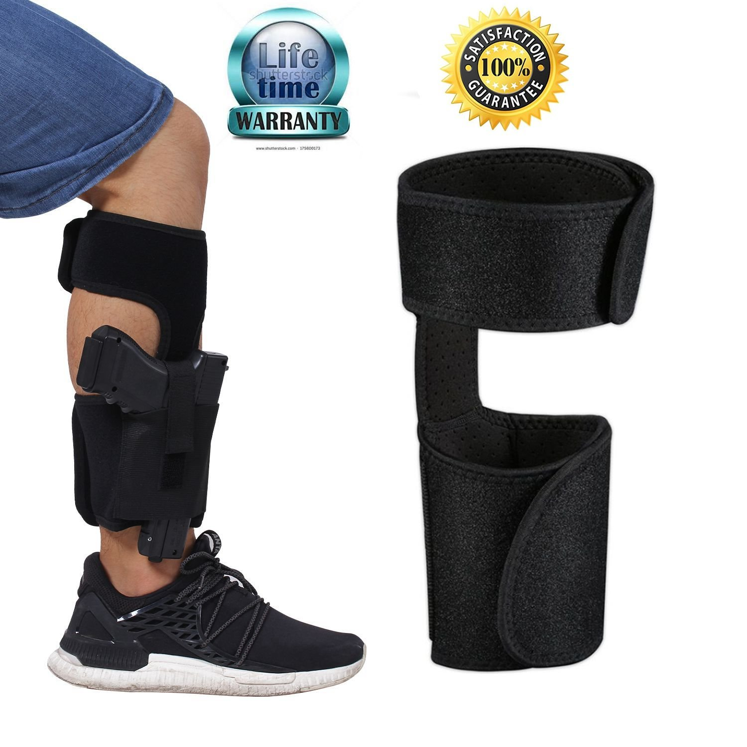 XIAOYI Ankle Holster for Concealed Carry Pistol/Handgun with Adjustable Elastic Secure Strap, Gun Holsters Suitable men and women For Glock 42, 43, 36, 26, S&W Bodyguard .380.38, Ruger LCP, LC9