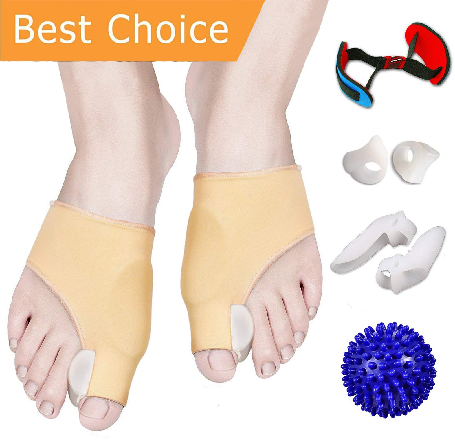 Bunion Corrector and Bunion Relief, Bunion Splint Pads for Hallux Valgus, Big Toe Joint, Hammer Toe, Toe Separators Spacers Straighteners with Foot Massage Ball