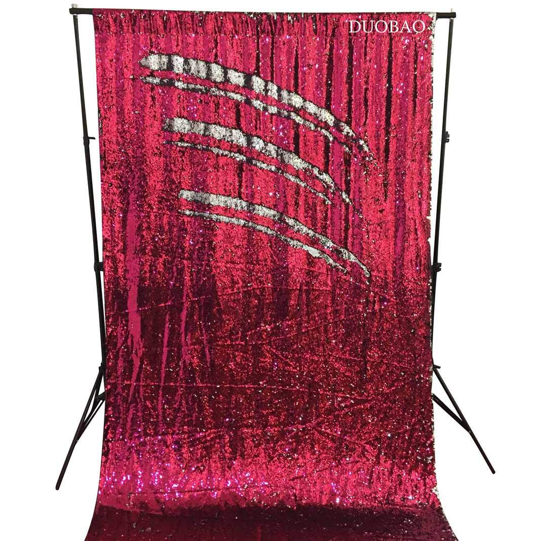 DUOBAO Sequin Backdrop 8Ft Mermaid Sequin Curtains Fuchsia to Silver Reversible Shimmer Backdrop 6FTx8FT Sparkle Photo Backdrop