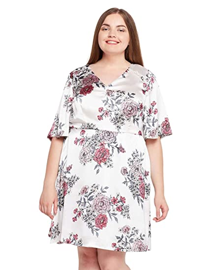 b3f60be133a oxolloxo Plus Size Women V Neck Off White Floral Dress (Short ...