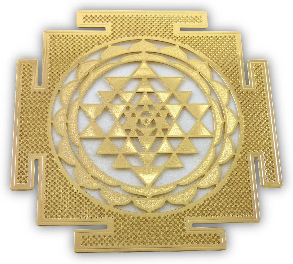 "Shree Yantra 18K Gold Plated 4"" Healing Grid"
