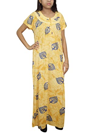 Indiatrendzs Women s Nightdress Hosiery Printed Yellow Long Maxi Gown XL   Amazon.in  Clothing   Accessories 095037534
