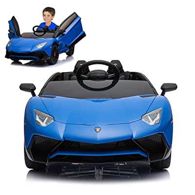 12V Electric Ride On Car with 2.4G Remote Control, 2020 Latest Model Aventador SV Roadster LP750-4 with Openable Doors, MP3, USB -Blue: Toys & Games
