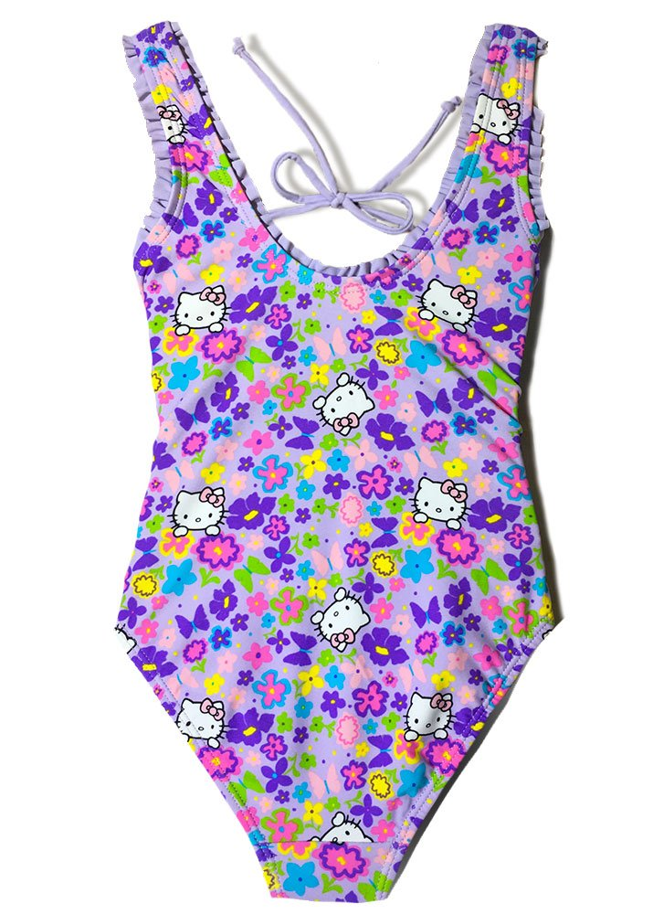 Girls' Hello Kitty Fringe One Piece Purple Swimsuit Swimwear Ruffle Bathing Suit (Purple, 5/6) by INGEAR (Image #2)