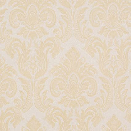 Victoria Beige Yellow Brown Damask Wallpaper For Walls