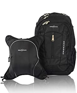 Obersee Bern Diaper Bag Backpack & Cooler, Black/Black
