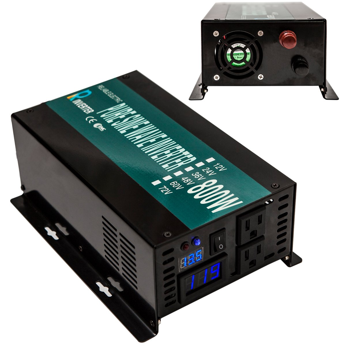 Reliable 800W LED Display Home Generator True Pure Sine Wave Solar Power Inverter Off Grid DC to AC 24V 120V Converter (Black) by WZRELB (Image #6)