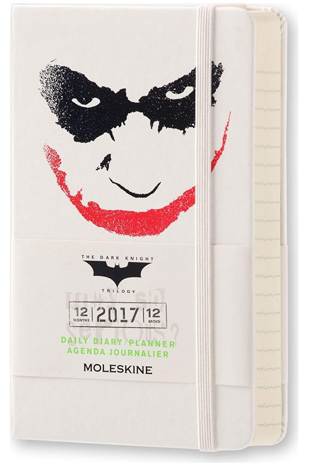 Moleskine 2017 Batman Limited Edition Daily Planner, 12M, Pocket, White, Hard Cover (3.5 x 5.5)