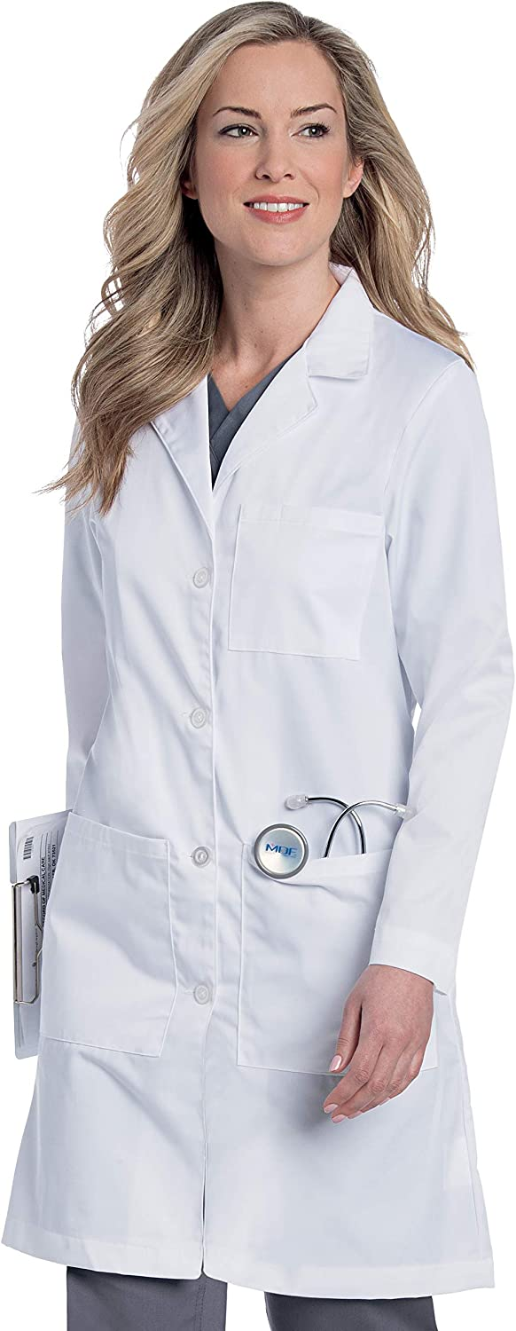 5-Pocket, Classic Relaxed Fit Notch Collar Medical Lab Coat 3153: Clothing