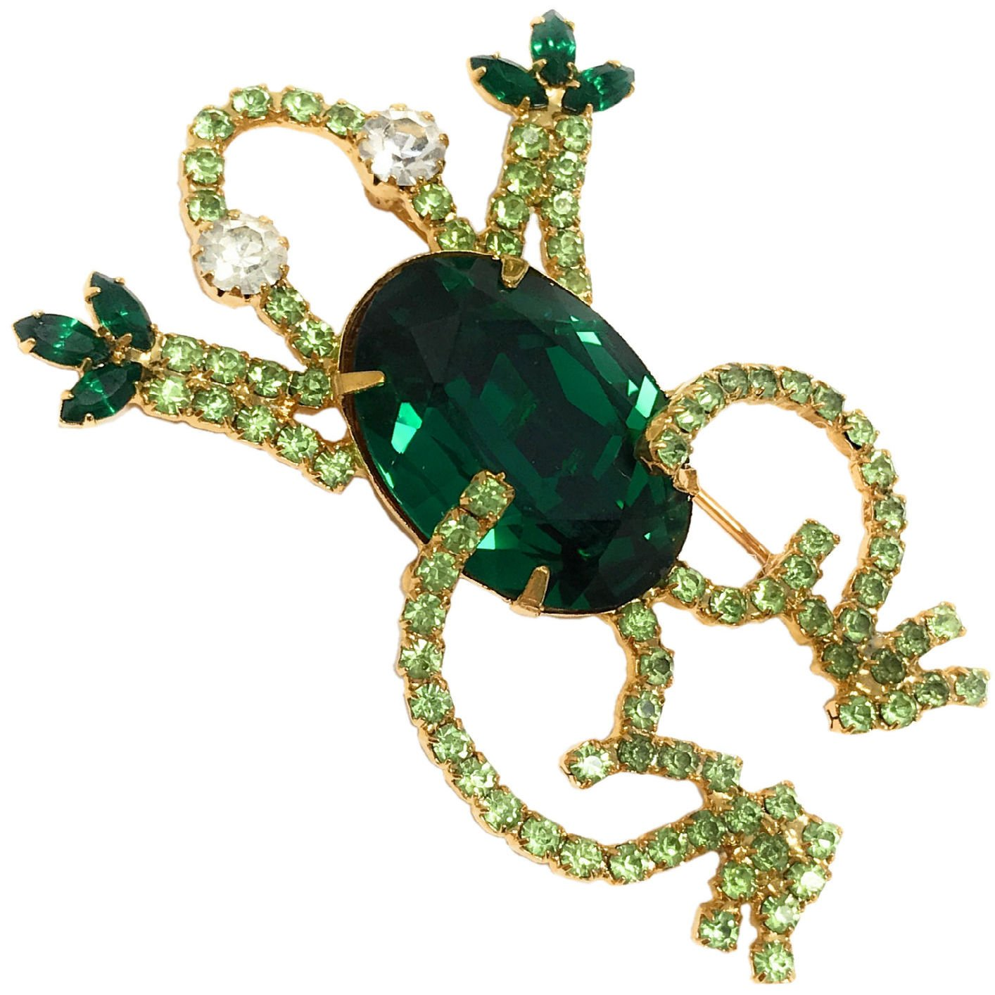 Dave's Collections Bejeweled Glitzy Austrian Crystal Gold-Plate Green Frog Brooch, 1.75'' x 2.5''