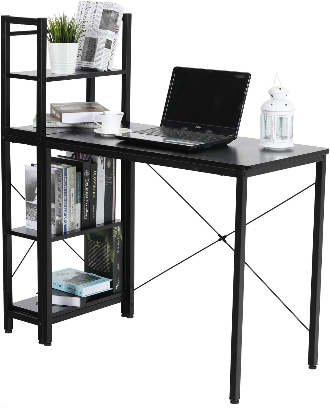 ALPHA HOME Computer Desk and Bookshelf, Wood Grain Office Desk PC Laptop Table Workstation