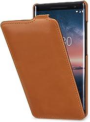 StilGut UltraSlim Housse Nokia 8 Sirocco en Cuir élégant. Étui de Protection en Cuir véritable pour Nokia 8 Sirocco à Ouverture Verticale et à Fermeture clipsée, Cognac