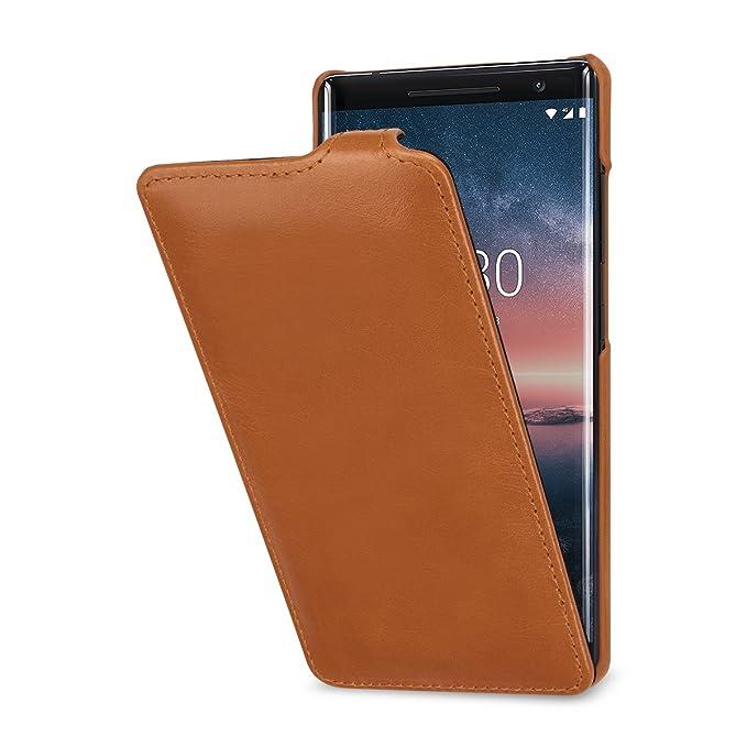 buy online c516e b77cc StilGut Nokia 8 Sirocco Case. Slim Vertical Leather Flip Cover for Nokia 8  Sirocco, Cognac Brown