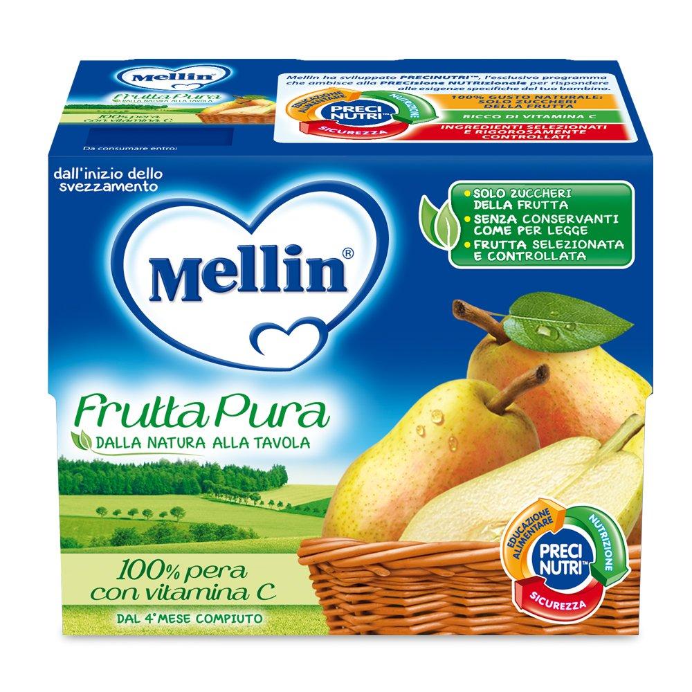 Mellin Frutta Pura Pera 100% Naturale - 24 Vasetti da 100 gr