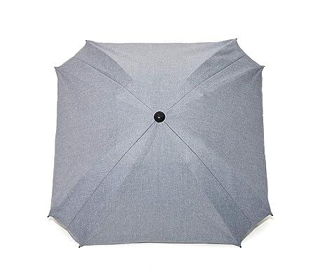 Sombrilla para carro de bebé, con brazo de fijación flexible, protección UV, diámetro de 68 cm, forma cuadrada beige