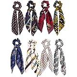 Minkissy Bowknot Hair Scrunchies, Hair Scarf Elastic Band Bowknot Ponytail Holder for Ladies Girls Women