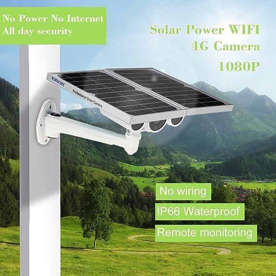 cámara IP inalámbrica 1080P Cámara IP WiFi de energía Solar 4G Cámara IR inalámbrica IR-Cut Energía Solar y de batería 3G gsm Cámara CCTV incorporada Tarjeta de 16GB TF: Amazon.es: Bricolaje y