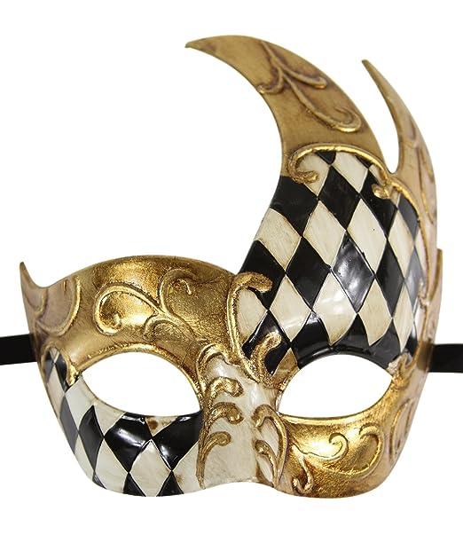 945f844024d Luxury Mask Men s Vintage Design Venetain Prom Mardi Gras Musical Checkered  Masquerade