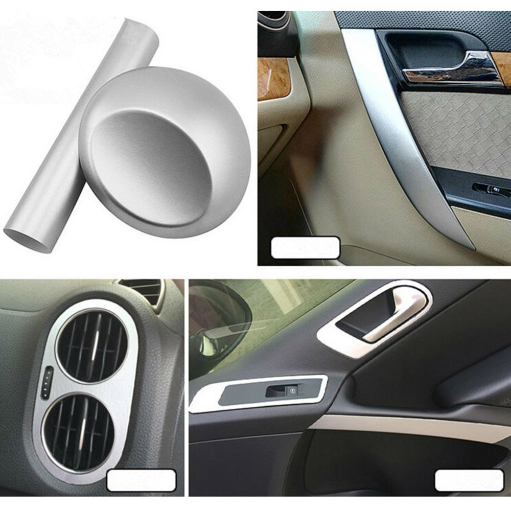HOHO Gloss Brushed Aluminum Metal Steel Vinyl Wrap Silver Sticker Film Bubble Free DIY 60''x98ft Roll
