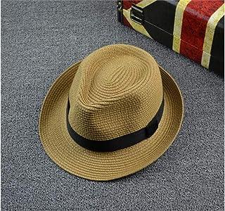 Young shinee Cappello per Bambini Cappello di Paglia di Colore Solido per Bambini Cappello di Bombetta per Bambini Cappello di Protezione Solare per 2-7 Anni (Nero) Berretto da Bambino