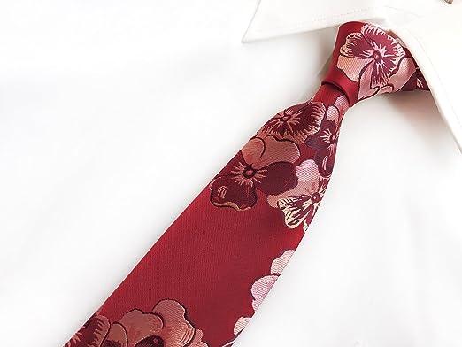 Chris Vu Juego de corbata color rojo cereza con gemelos, pasador ...