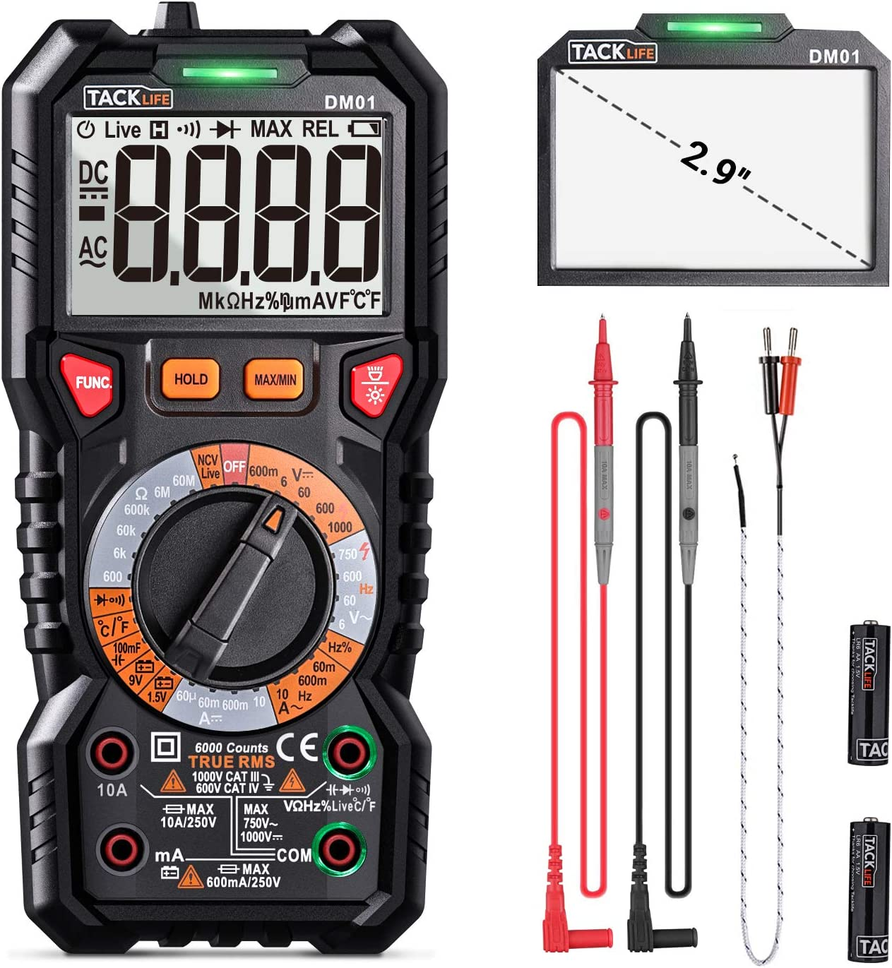 Digital Multimeter TRMS 6000 Counts LED Intelligent Indicator Jack Manul Ranging Measuring ACDC VoltageACDC CurrentResistanceCapacitanceFrequencyDutyD at Kapruka Online for specialGifts