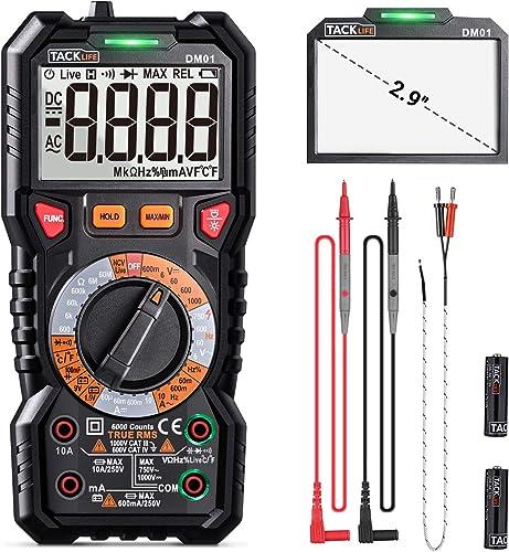 Digital Multimeter TRMS 6000 Counts, LED Intelligent Indicator Jack, Manul Ranging Measuring AC DC Voltage,AC DC Current,Resistance,Capacitance,Frequency Duty,Diode, Continuity test, NCV LIVE