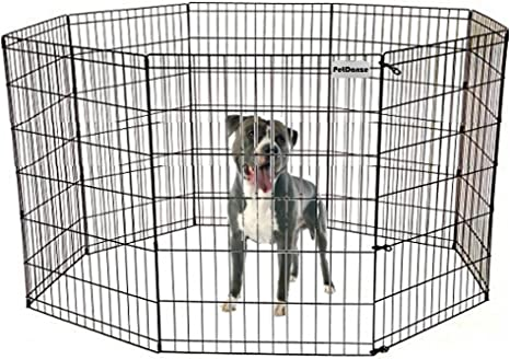 """36/"""" Dog Kennel Outdoor Pet Play Pen Cat Rabbit Cage 8 Panels Heavy Duty Exercise"""