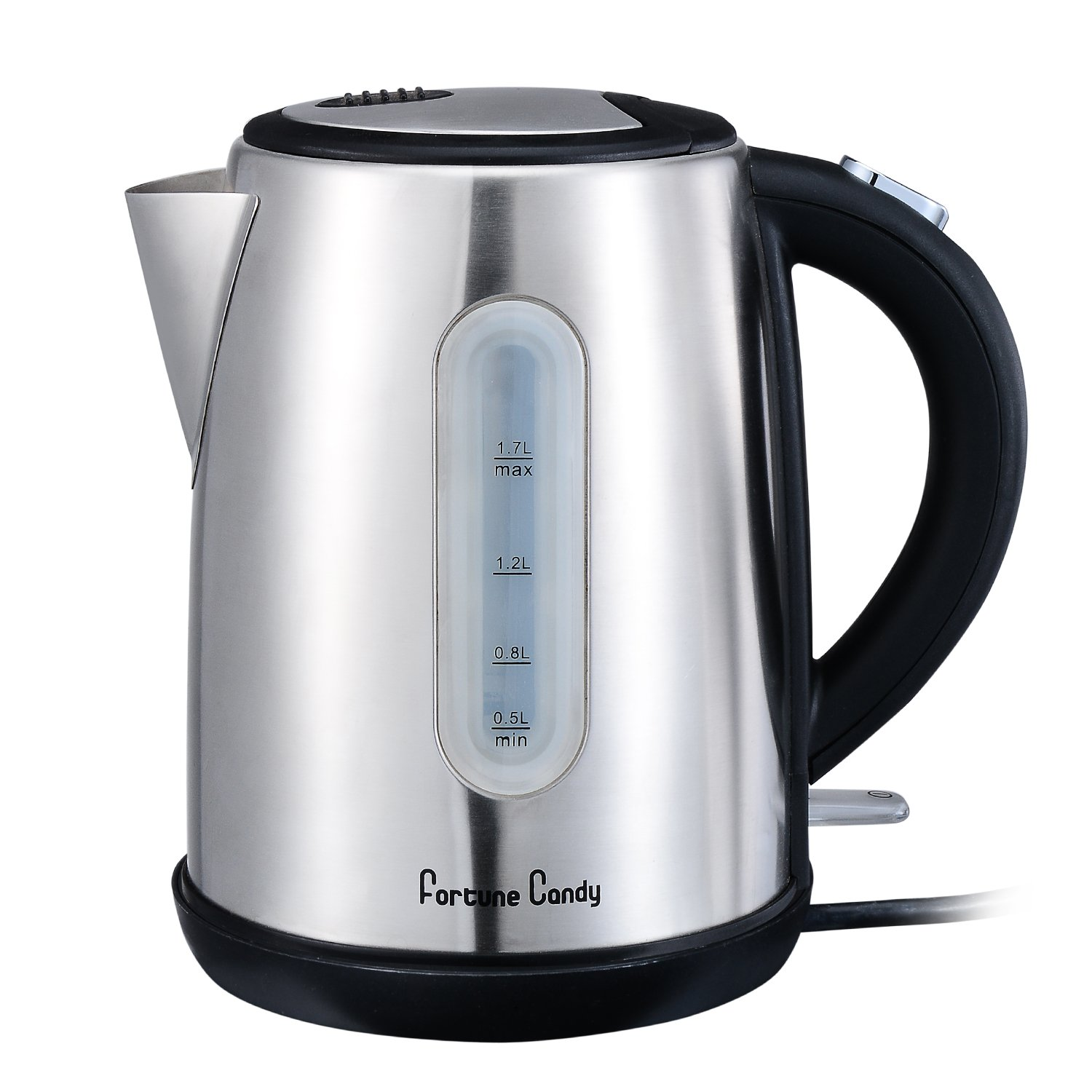 Fortune Candy Stainless Steel Otter Controller Cordless Electric Kettle 1500-Watt with Auto Shut Off (1.7L)