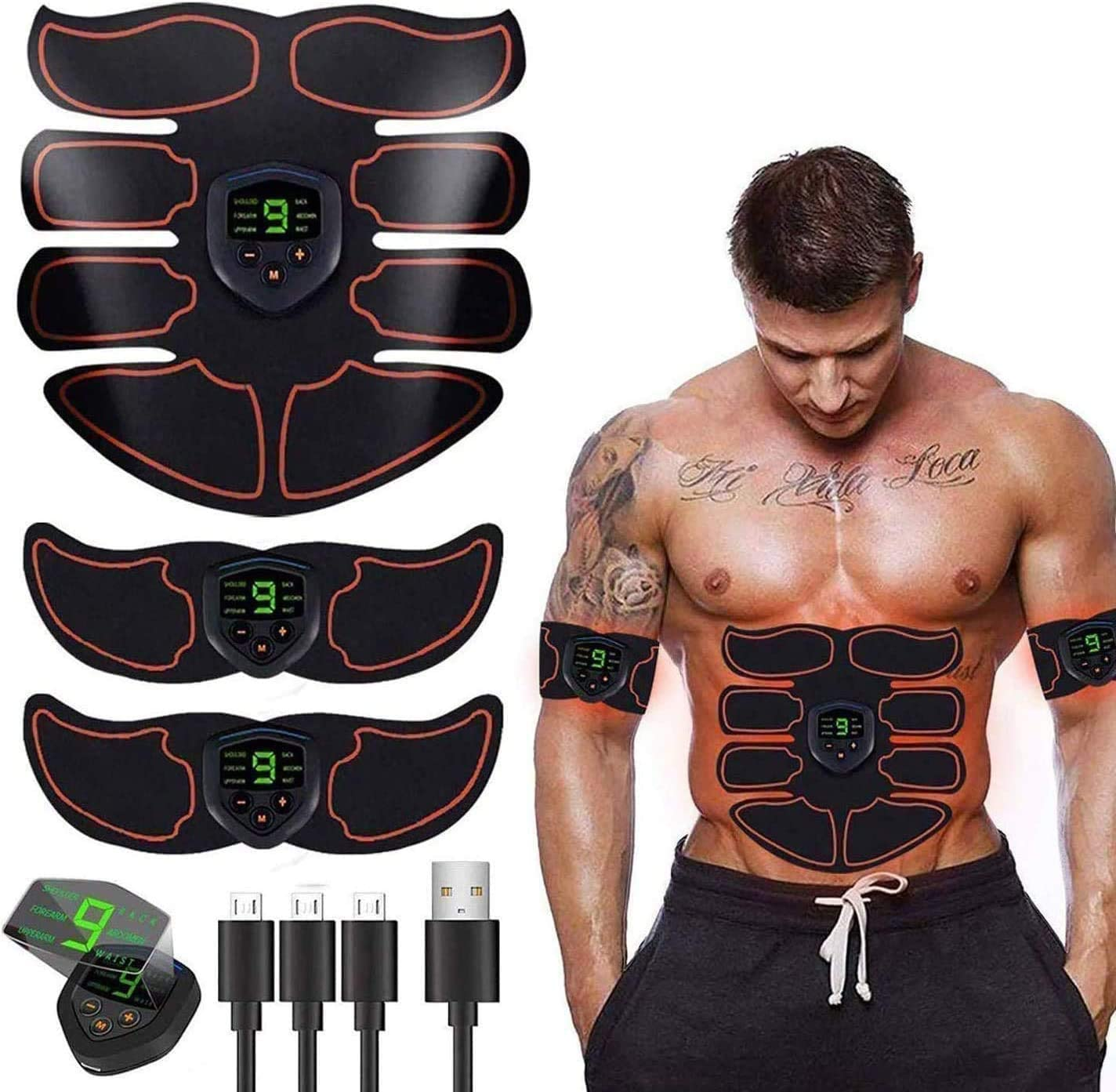 Ben Belle ABS Stimulator Ab Machine,Ab Stimulator EMS Portable Rechargeable Gym Abs Workout Equipment and Home Office Fitness Ab Belt Equipment for Abdomen