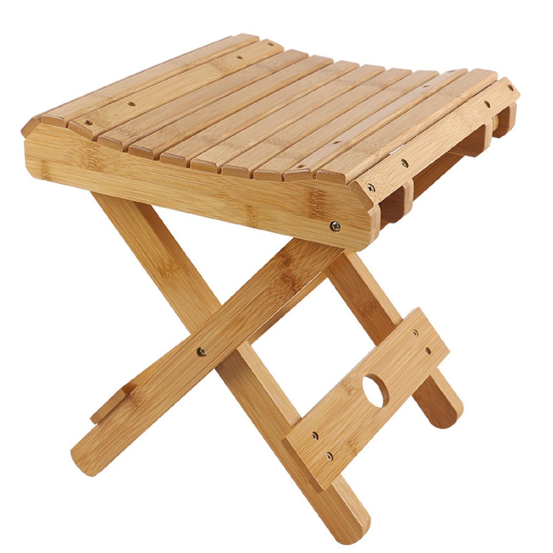 GAOJIAN Taburetes Plegables portátil de bambú casa de Madera ...