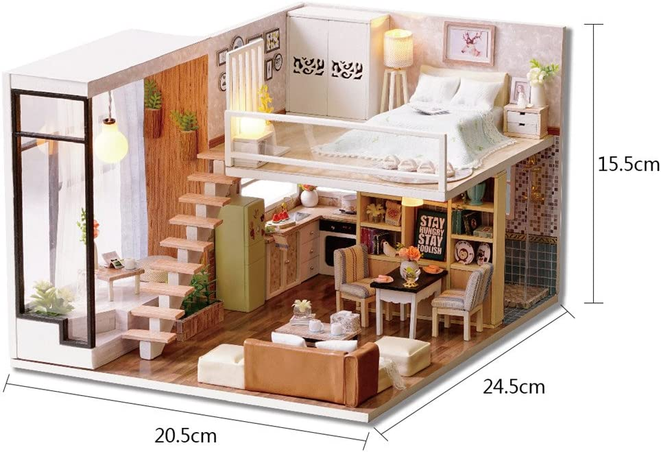 with Led Light Creative Craft Staunchow Dollhouse Miniature Furniture 3D Retro DIY Dollhouse Kit Perfect Valentines Day and Birthday Gift