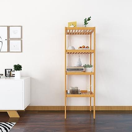 4 tier bamboo bathroom shelf storage units free standing wooden rh amazon co uk free standing wood shelves free standing wooden shelves plans