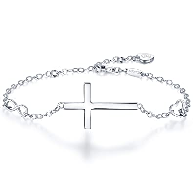 BlingGem Silver Bracelet Cross In Good Faith Symbol in 925 Sterling Silver  Religious Christian Infinity Classic 33efd28db1