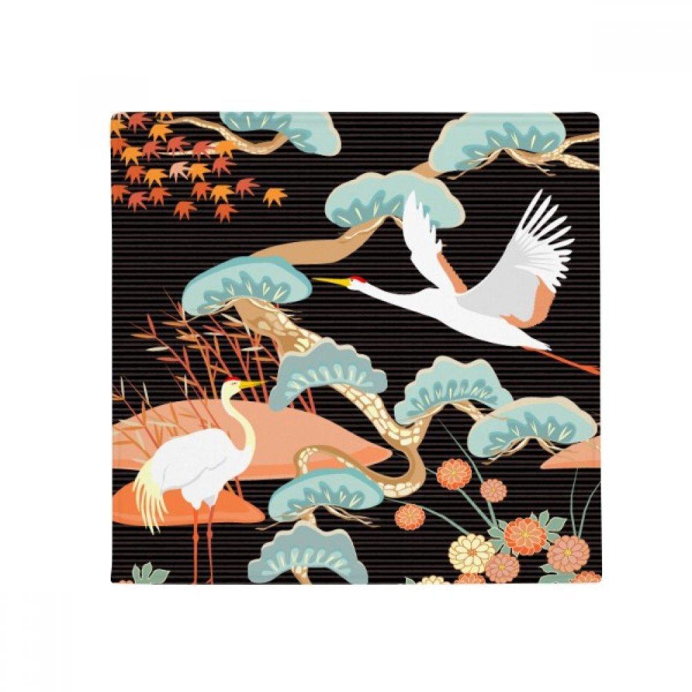 DIYthinker Cranes Peonies Maple Leaves Pattern Anti-Slip Floor Pet Mat Square Home Kitchen Door 80Cm Gift
