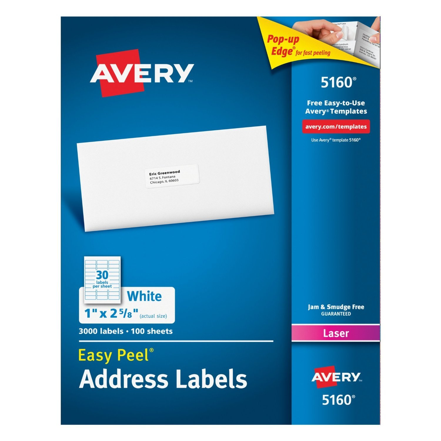 Avery Easy Peel White Mailing Labels for Laser Printers, 1 x 2.62 Inch, Box of 3000 Labels (5160), 6-pack