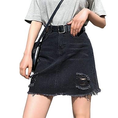 7bedf2d6b8ba Huainsta Plus Size Denim Skirt Women Skirts Womens Summer Sexy Mini High  Waist Black Jean Skirt at Amazon Women's Clothing store: