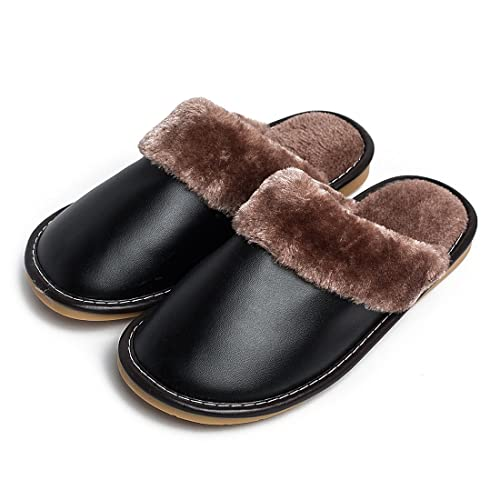 ef6f68727 Warm Comfy Fuzzy Lined Home Leather Slippers for Men Indoor Shoes Black